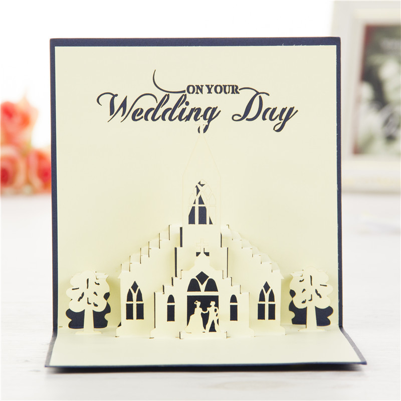 10pcs Lot Handmade Kirigami Origami 3d Pop Up Card Creative Wedding Church Invitations