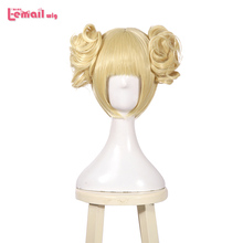 L-email wig My Hero Academia Himiko Toga Cosplay Wigs 35cm Short Blonde Cosplay Wig Heat Resistant Synthetic Hair Perucas