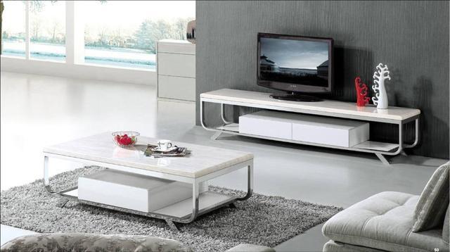Marmo bianco Mobili Set per soggiorno, Tavolino e TV Cabinet Design ...