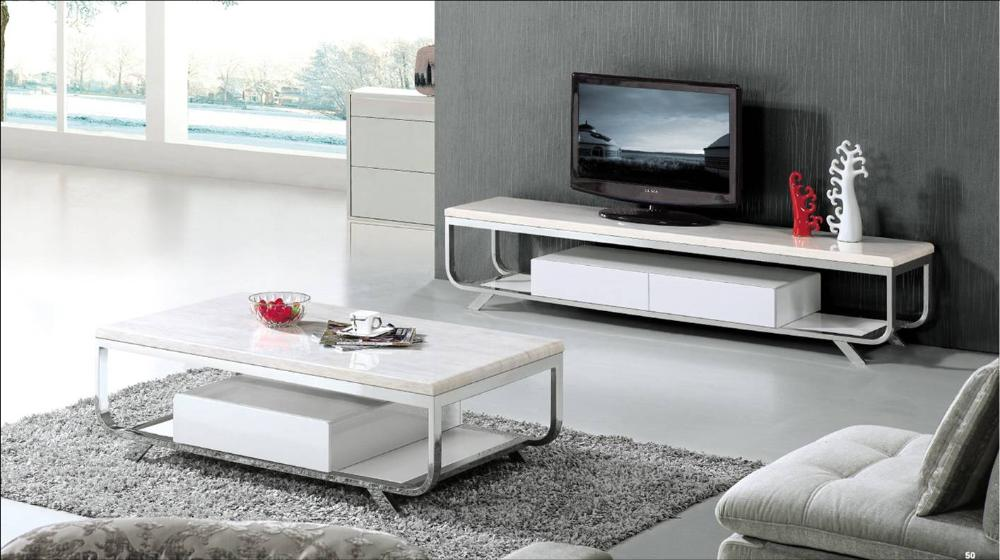 White Marble Furniture Set For Living Room Coffee Table And Tv Cabinet Modern Design European