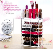 New Arrival Acrylic Makeup Organizer Multilayer Cosmetic Boxes With Lid Lips Rack Brush Storage Container Free Shipping