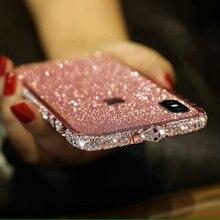 Dla iPhone 11 Pro Max 8 7 6S Plus Bling Case diamentowa rama Bling wąż Rhinestone Glitter etui zderzak dla iPhone XR Xs Max