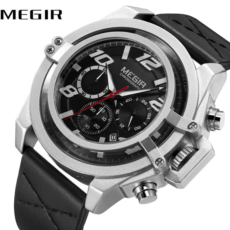 Creative MEGIR Men's Fashion Sport Watches 2018 Top Brand Luxury Quartz Clock Leather Band 3 Working Sub-dials Wrist Watches все цены