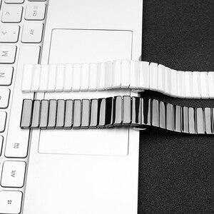 Image 5 - 20mm 20mm קרמי watchbandעבור Samsung S2 S2רצועת החזרהעבור לצפות Huawei 2שעון גלקסי 42/46פרפר אבזם רצועה