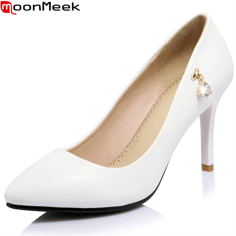 MoonMeek 2018 new sexy female fashion pumps pointed toe thin heels slip on shallow with extreme
