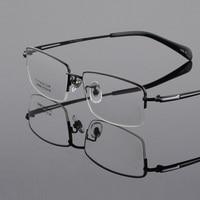 New fashion pure titanium big face male eyeglasses frame for men ultra light frame half frame reading glasses eyewear oculos