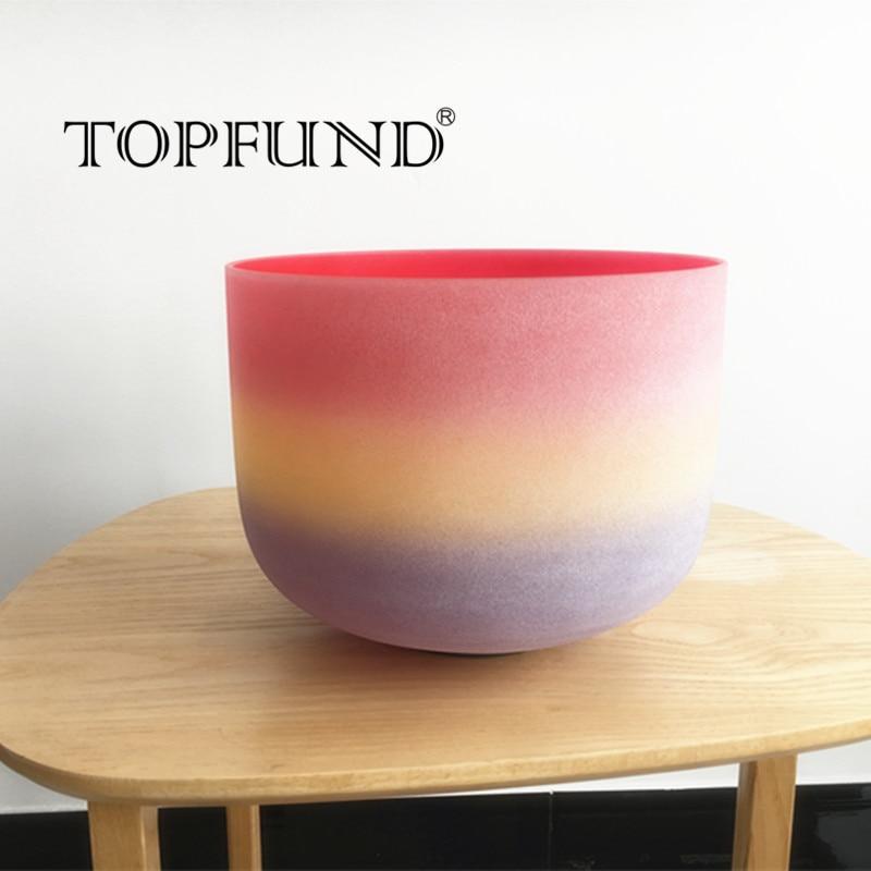 TOPFUND матовое C корень Чакра Радужный Цветной Матовый Кварцевый Поющая чаша 8 уплотнительное кольцо и молоток, для медитации