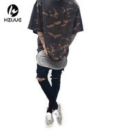 HZIJUE 2017 Camo Tee Hip Hop T-Shirt Moda Uomo Militare Camouflage Uomo Manica Corta O-Neck T Shirt Per Streetwear S-XXXL
