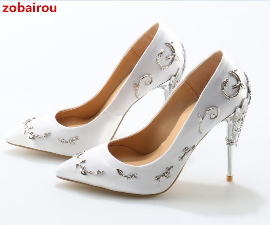 Femmes Bout Show Luxe Filigrane Talons as Couture Feuille Pompes As Pointu Mariage Chaussures Zobairou Show Mariée Haute Femme De Soirée Mode En YHqwXw