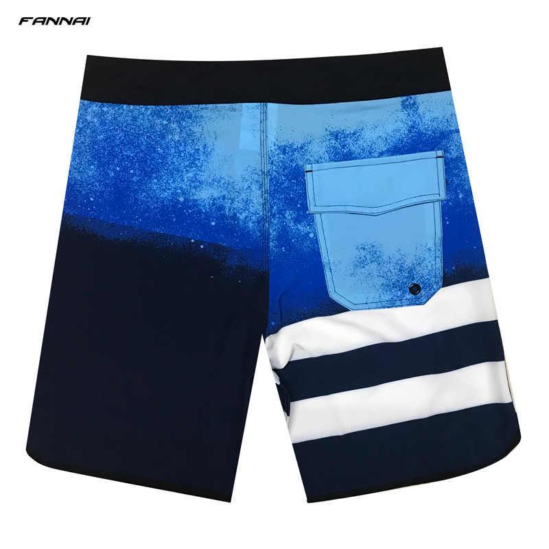 Gorące lato plaża nosić męskie spodenki planszowe Quick-dry Surf stroje kąpielowe męskie wysokie elastyczne paski spodenki do pływania Running Gym spodenki 2019