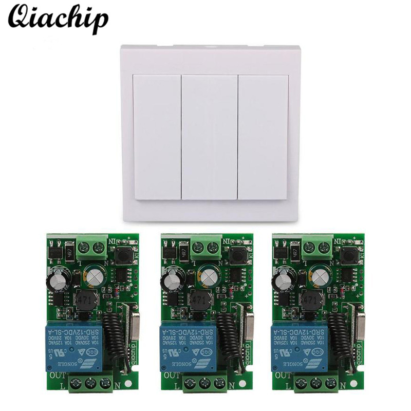 QIACHIP 433 Mhz Wireless AC 110V 220V 1 CH RF Relay Receiver Remote Control Switch and 433Mhz 86 Wall Panel Remote Transmitter wireless pager system 433 92mhz wireless restaurant table buzzer with monitor and watch receiver 3 display 42 call button
