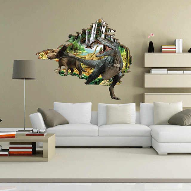 % 3D мультяшная Наклейка на стену «динозавр» домашняя Настенная Наклейка для детской комнаты спальни через стену бумага животное настенная Бумага плакат домашний декор