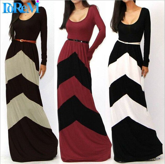 3 Colors Spring Autumn 2015 Maxi Dress with Sashes Casual Vestidos Full Sleeve Striped Women Dress Long Party Dresses Plus Size