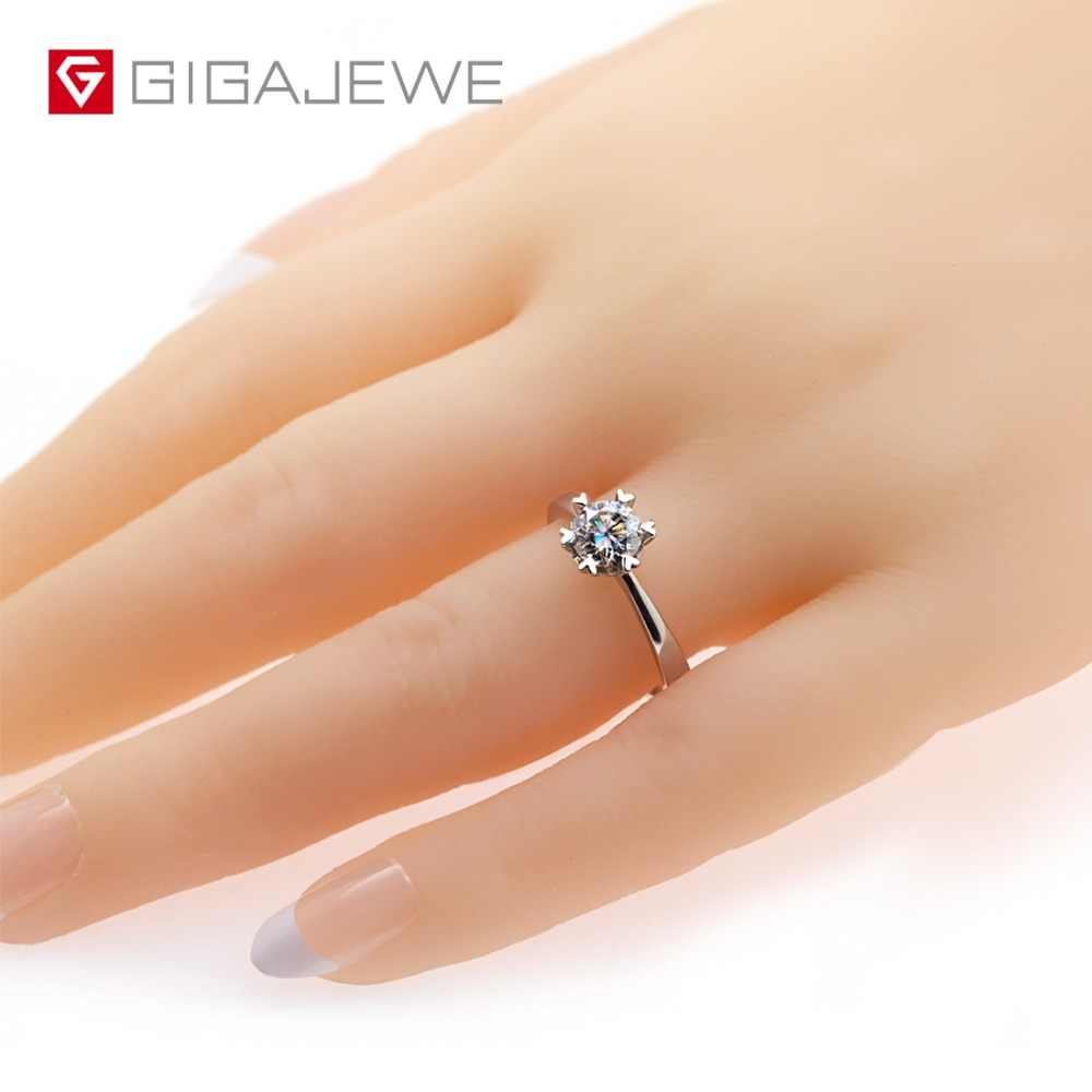 GIGAJEWE Moissanite แหวน 0.8ct 6 มม. ตัด VVS F สี Lab เพชร 925 เงินแฟชั่น Love Token ผู้หญิงแฟนของขวัญ