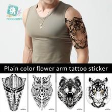 Rocooart Flower Arm Sleeve Tattoo Sketch Wolf Tiger Waterproof Temporary Sticker Tribe Animal Men Full Owl Totem