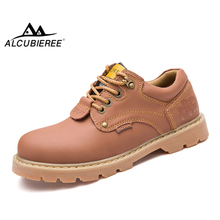 ALCUBIEREE Mens Casual Martin Boot Genuine Leather Ankle Boots Men Antiskid Shoes Wear-Resistant Work Shoes Male Lace-Up Boots