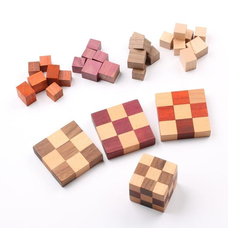 50 pcs lot blocs bois bricolage bois 2 cm cubes blocs carrés blocs bois massif artisanat bois blancs - 3
