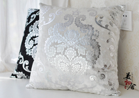 Freeshipping Silver Embroidery Customized Pillow Case Wedding Room Sofa Chair Bedding Hotel Decorative Cushion Cover Pillowslip