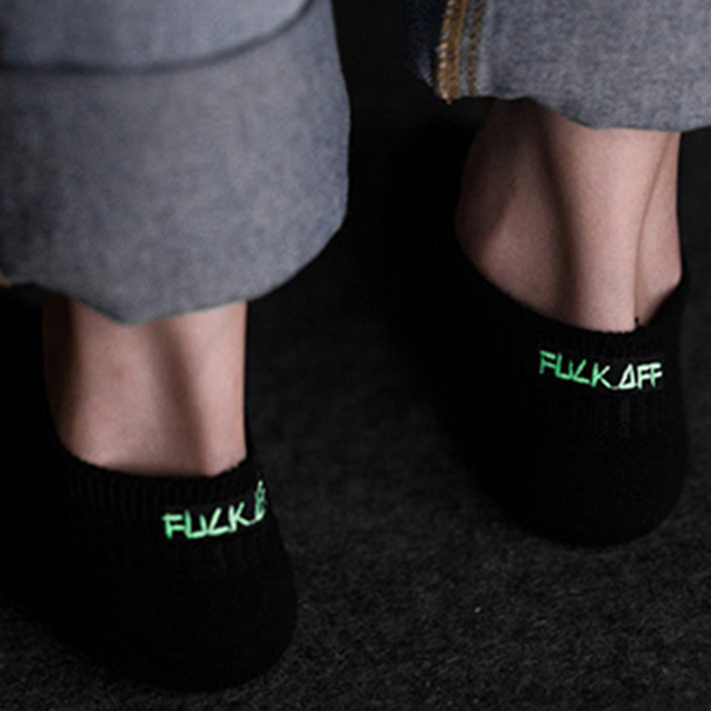 Japan Harajuku Street Socks Women Men Fine Embroidery Letters Socks Black White Funny Socks Luminous English Word Unisex Soks