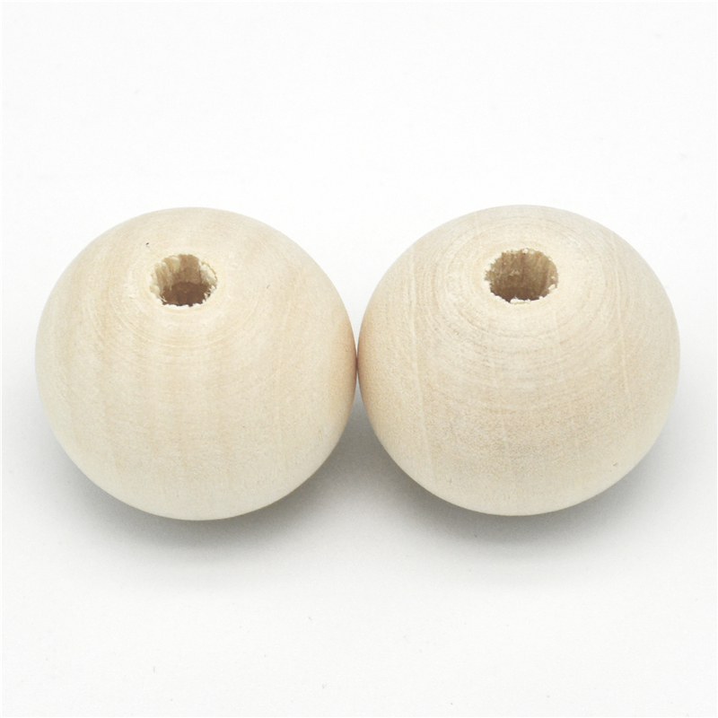 40mm Large Round Ball 10PCS Unfinished Natural Wood Beads DIY Crafts Wooden Beads Jewelry Making For Baby Smooth Teething