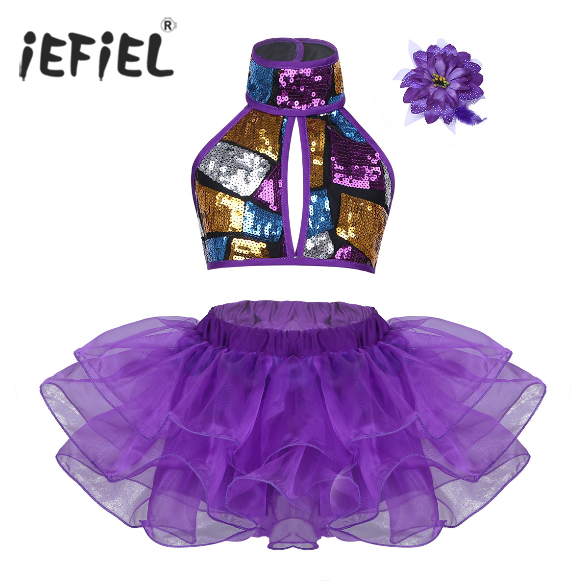 Girls Dance Costumes Stage Performance Halter Shiny Sequins Crop Top with Tutu Dress Flower Hair Clip for Ballet Jazz Dancewear