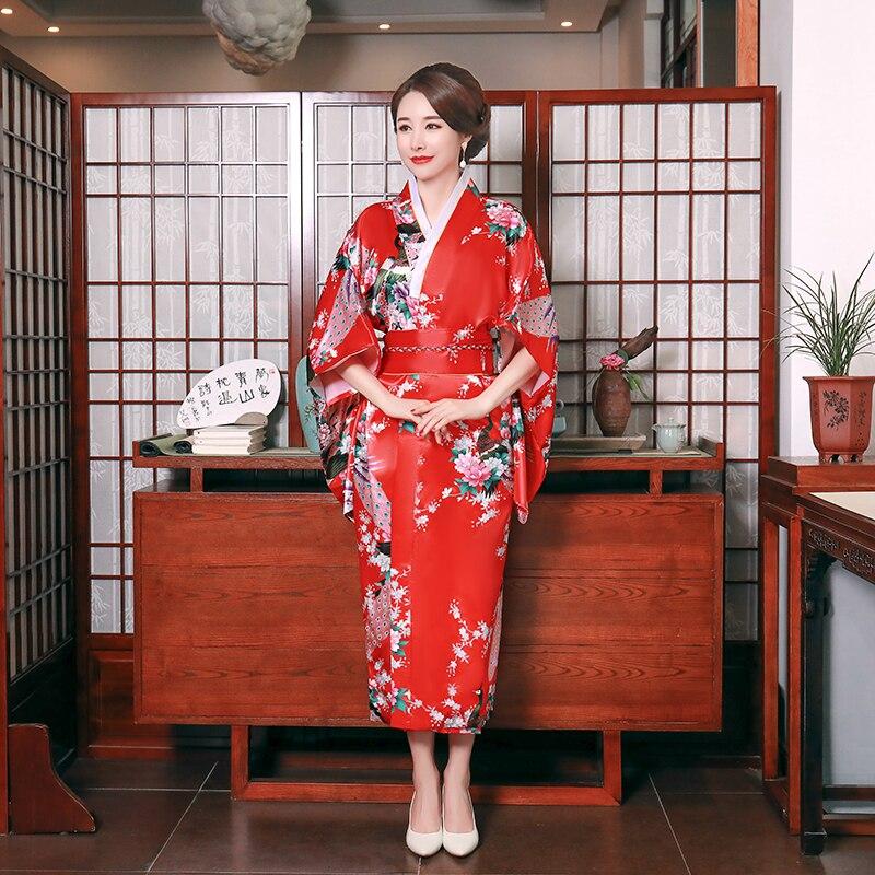 Red Japanese Print  Flower Kimono Bathrobe Gown Women Satin Tradition Yukata With Obi Vintage Evening Dress Cosplay Costume