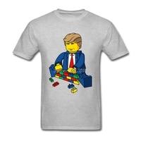 Building Block Donald Trump T Shirt Custom Short Sleeve T Shirts Men 2017 Hot Car Styling