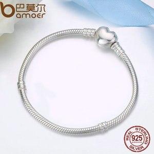 Image 5 - BAMOER autentyczne 100% 925 srebrny łańcuszek żmijka łańcuch chwile bransoletka z serduszkiem i bransoletka luksusowa biżuteria srebrna PAS917