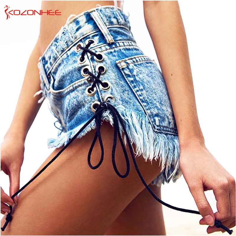 Vintage Snowflake Inelastic Women Denim Shorts With High Waist Straps Tassel Female Summer Shorts For Women's Jeans
