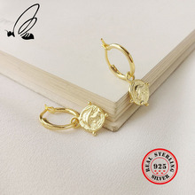 Trend Figure Big Circle Earrings Gold Emboss Coin Real 925 Sterling Silver Drop Earrings For Women Elegant Fine Jewelry Gift New стоимость