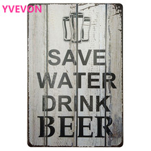 SAVE WATE DRINK BEER Iron Tin Party Signs Retro Plate Poster Alcohol Shabby Plaque for Pub Bar Lounge Wall Decor 20x30cm
