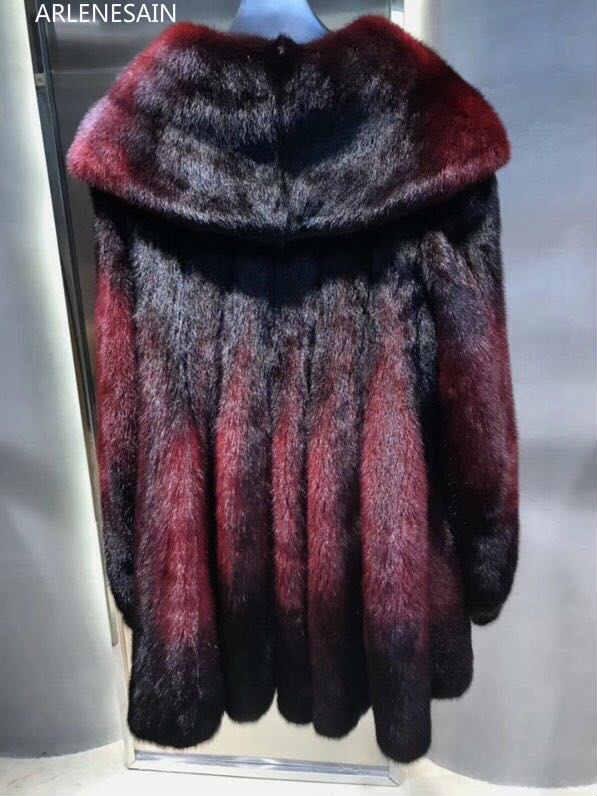 Arlenesain Nouvelle camel Fourrure Femmes Couleur Mode Bourgogne Manteau De 2019 Deux Personnalisé Vison 4EgqS4r