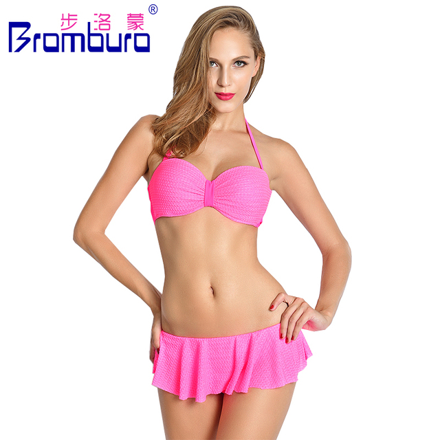 696de89dbbcf8 2016 Newest Women Swimming Skirt Bikini Sets Solid Tops+Bottoms Female  Beachwear Maillot De Bain Sexy Pink Solid Beach Swimsuits