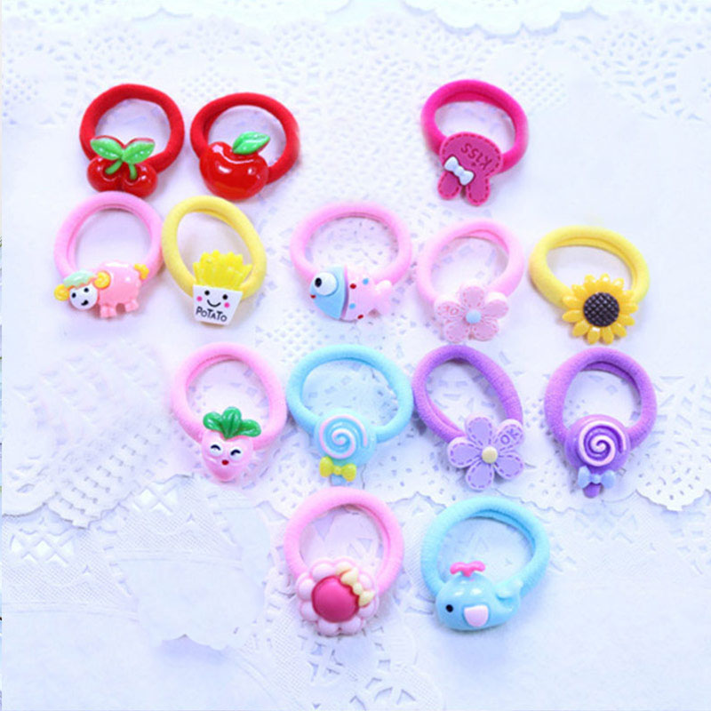 2PCS/Lot Popular Rubber Elastic Hair Bands Cute Sweet Baby Children Girls Headwear Hair Accessories Hair Rope