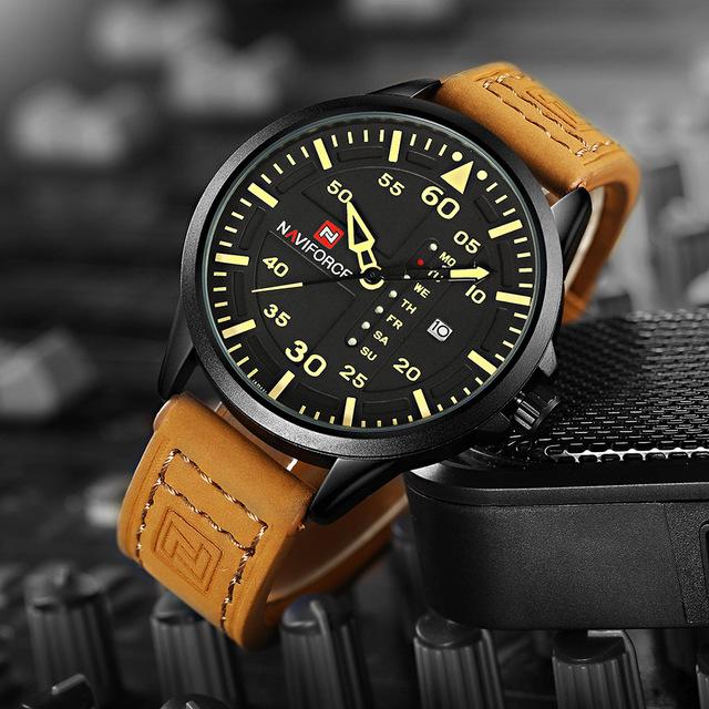 Leather Military Wrist Watch