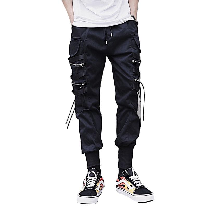 De los hombres de moda Casual Harem Pant de la calle Hip Hop hombre grande  bolsillo Slim carga pantalones de pantalón Jogger pantalones de chándal 77cef75818a