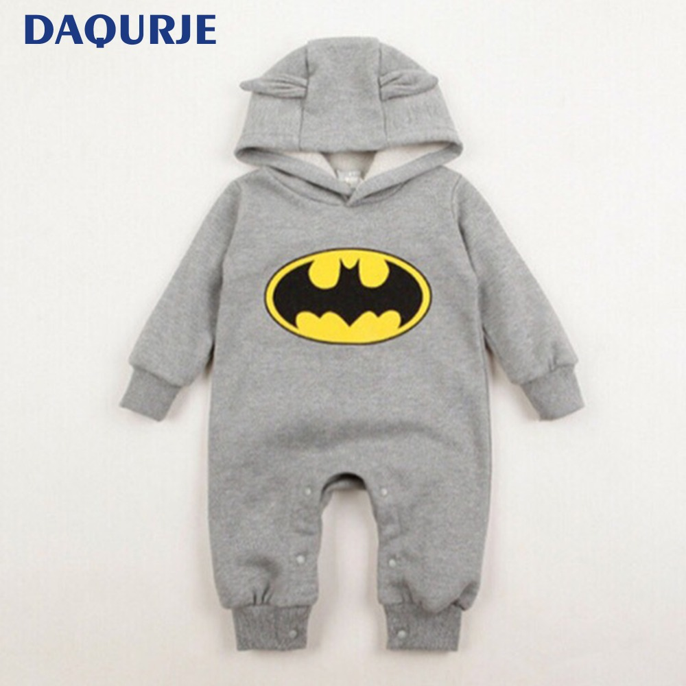 2018 Autumn winte Baby clothes casual cute newborn baby clothes warm velvet hooded Infant rompers cartoon batman baby boy romper