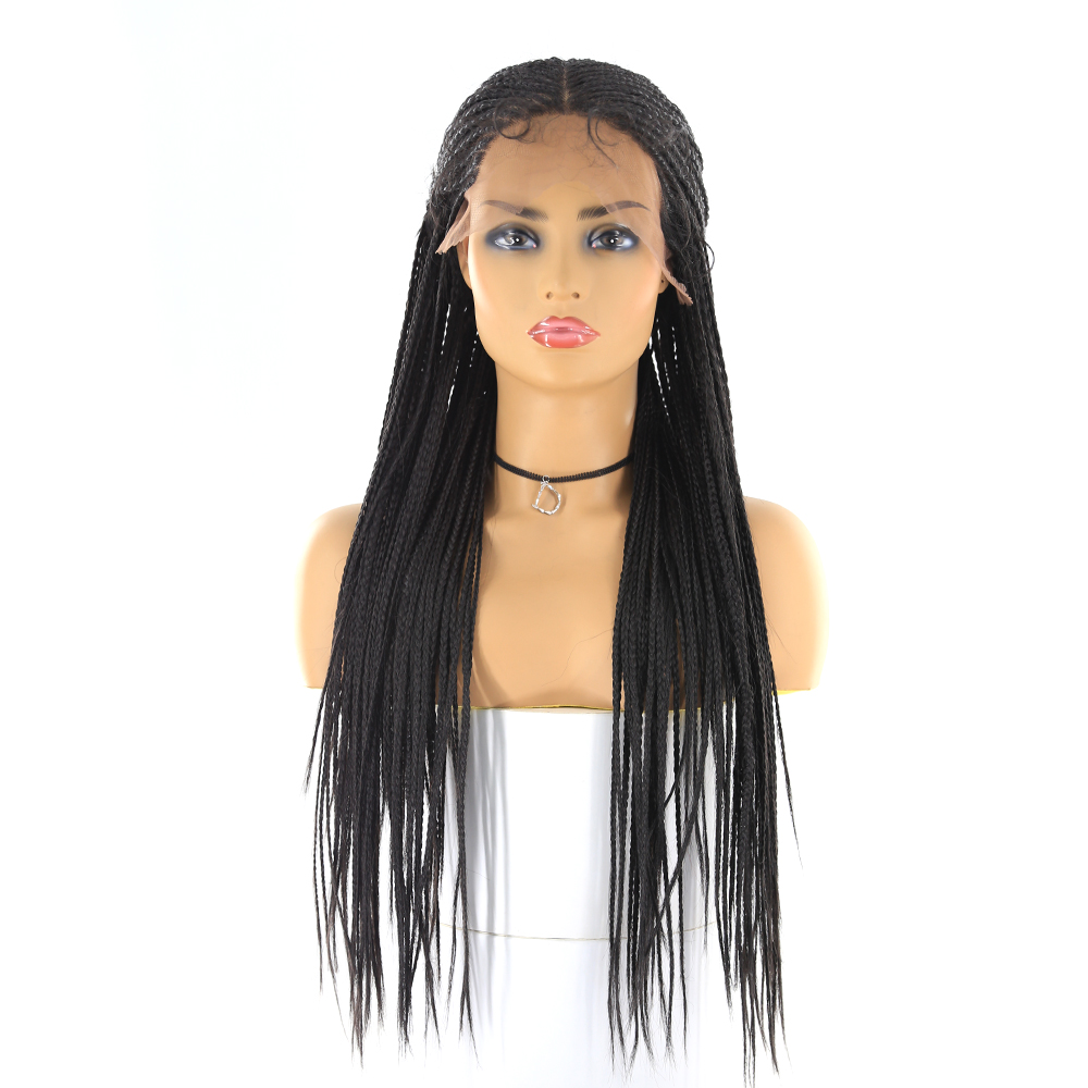 13*6 Lace Front Synthetic Wigs For Black Women SOKU 24Inch African American Braided Black Wigs Long Tendy Lace Front Braid Wigs