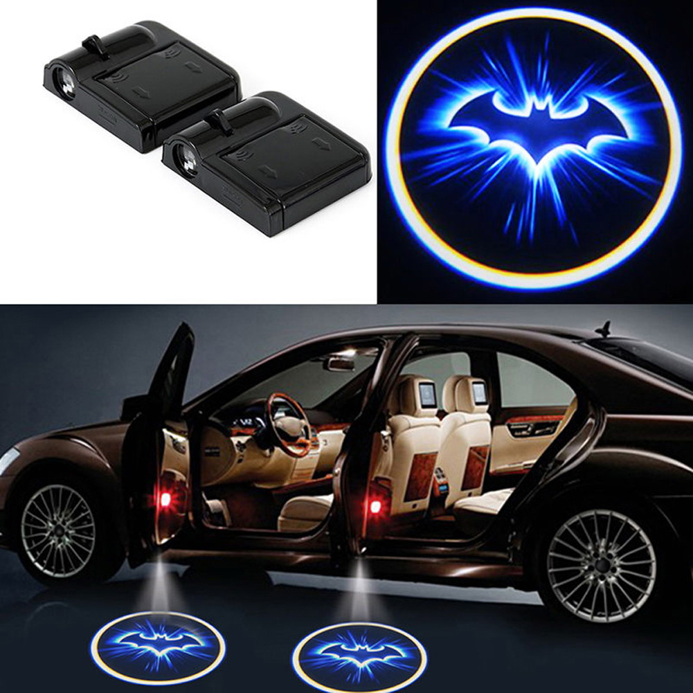 Wireless 2pcs No Drill Type Car Door Welcome Light Logo Badge Lights LED Laser Ghost Shadow Projector Lamp for Most Cars 2 pcs fc barcelona wireless led car door projectors