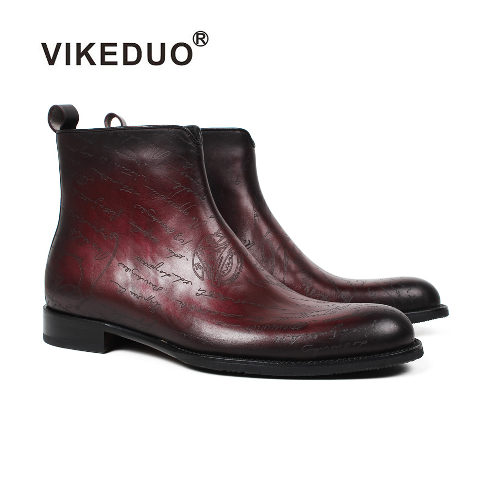 Vikeduo Новинка 2019 года мужские ботинки с буквенным узором ботинки с лазерной обработкой мужской пояса из натуральной кожи обувь плюс размеры ...