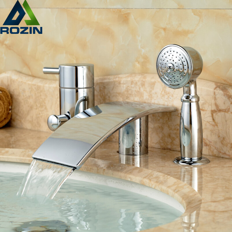 Chrome Brass Single Handle Bathtub and Shower Mixer Faucet Set Deck Mount Bathroom Tub Filler Taps Waterfall Spout deck mounted 5 pcs tub faucet brass chrome polish bathtub shower set swivel spout tap