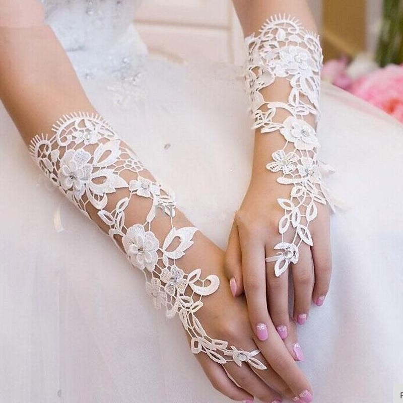 E JUE SHUNG белые кружевные свадебные перчатки до локтя Свадебные перчатки без пальцев Дешевые Свадебные аксессуары
