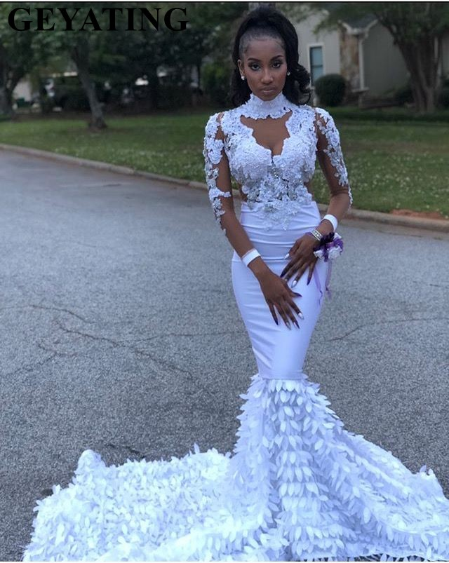 Elegant High Neck Long Sleeves Mermaid White Prom Dresses 2019 Illusion Lace Applique 3D Floral Black Girl Long Graduation Dress