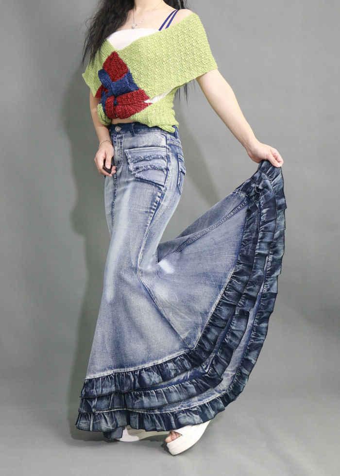 Ретро Для женщин Джинсы для женщин юбка Кривая Красота торт большие качели Высокая талия рыбий хвост Юбки для женщин тонкий Вышивка Крестом Пакет хип Русалка джинсовые длинные макси юбки для женщин