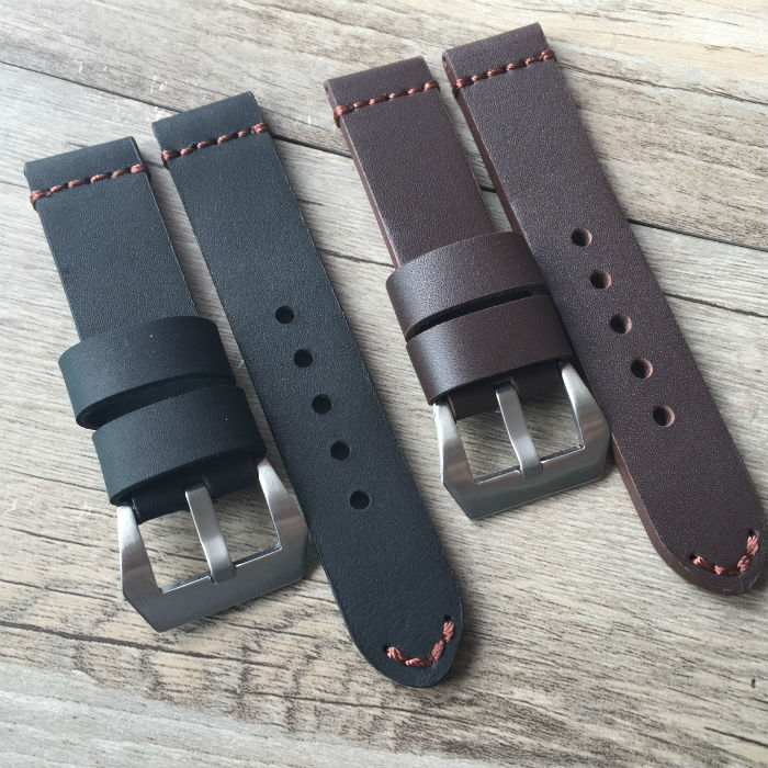 Upscale Genuine Leather Big Watch Straps 22mm 24mm black brown Universal Watchbands Brushed Metal Buckle Band for Panerai PAM new arrive top quality oil red brown 24mm italian vintage genuine leather watch band strap for panerai pam and big pilot watch