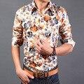 2016 мода мужская с длинным рукавом гавайская рубашка Большой размер M-3XL лето свободного покроя цветочные майки Camisa социальной Masculina