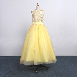2017 new style square collar yellow tulle appliques flower girl dresses ball gown floor length regular.jpg 250x250