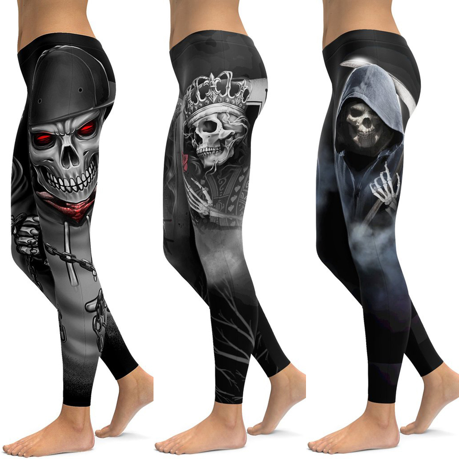 Skull Leggings Yoga Pants Women Sports Pants Fitness Running Sexy Push Up Gym Wear Elastic Slim Workout Leggings 2