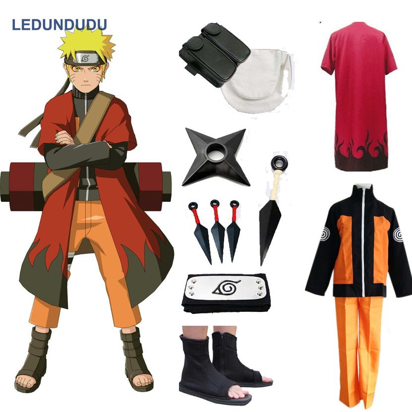 Anime Naruto Cosplay Costumes Shippuden Uzumaki Naruto 2e Outfit Uniformes Ensemble avec Capes Halloween Party Props Vêtements