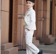 Retail 1 Set Children Clothing Set Costume Birthday Fashion Casual Brand Formal Boy Wedding Suits Blazers 5 PCS Set F 1004